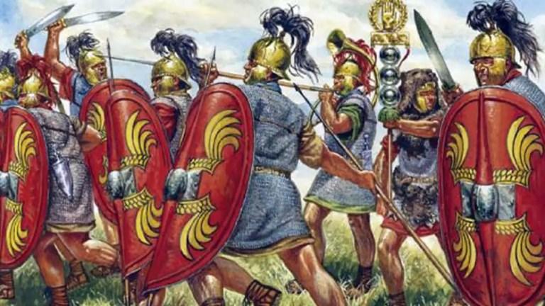 Soldados romanos durante la guerra civil de César.