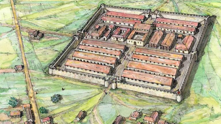 Ilustración del castrum romano en el sur de Yorkshire.