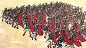 Ilustración de una centuria: divisiones del ejército romano.
