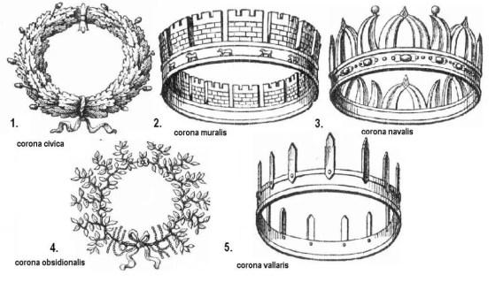 Ilustración de varias coronas romanas.