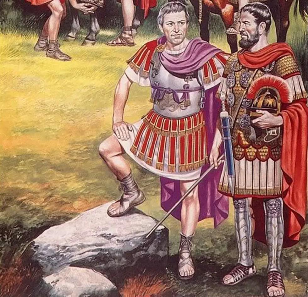 Ilustración de un legado y un centurión. Los oficiales romanos.