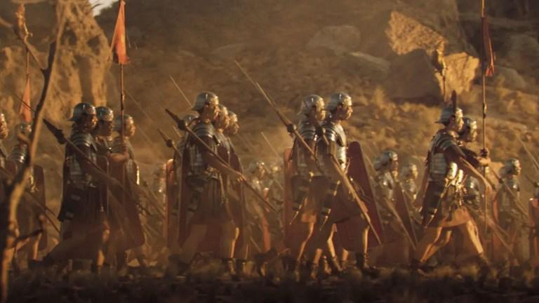 Ejército romano durante la marcha.