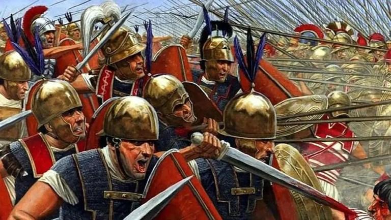 Legionarios romanos en batalla.
