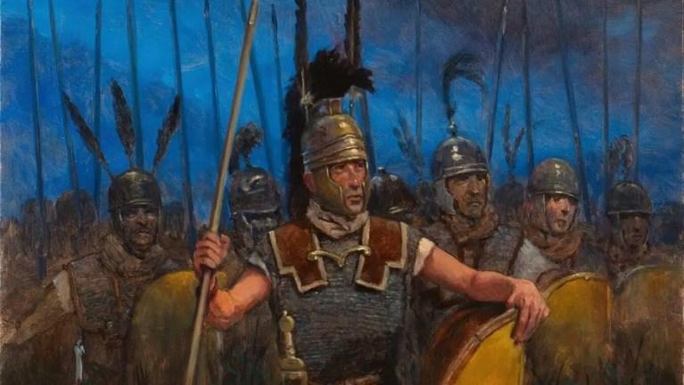 Varios legionarios de la república romana, observamos a un triarius en el frente.