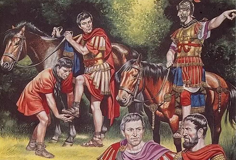 Tribunos romanos, tribuno laticlavo y tribuno angusticlavo. Oficiales romanos.
