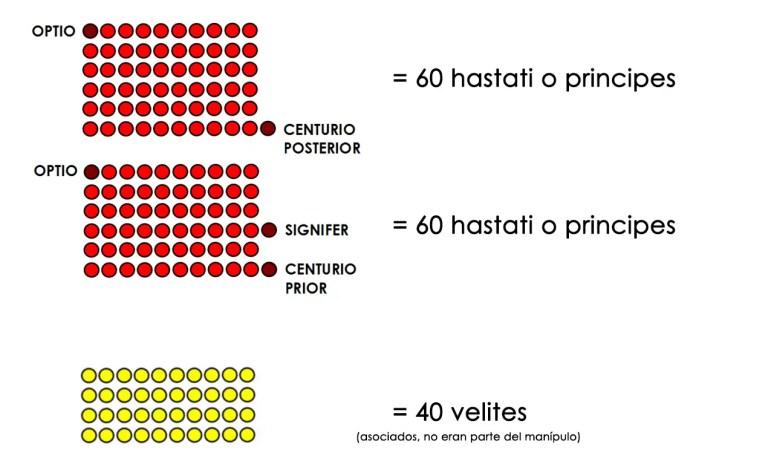 Organización de un manípulo de hastati o principes según Polibio.