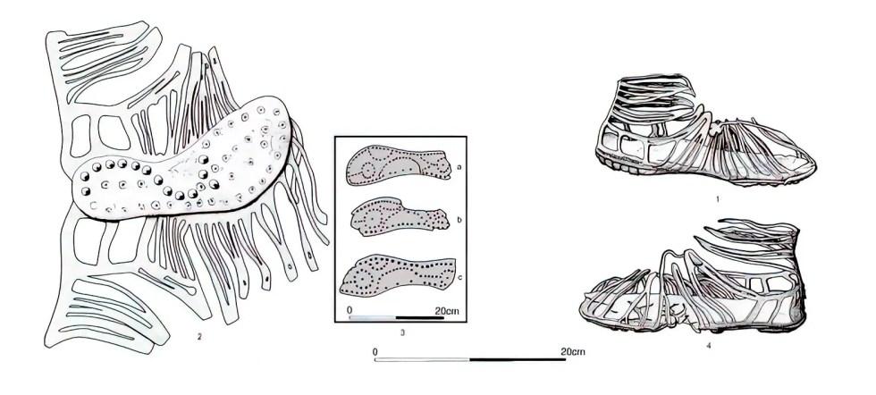Estructura y construcción de una sandalia caliga, las sandalias del ejército romano.