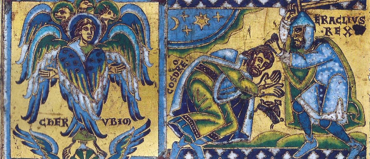 Cherubino e Eraclio che riceve la sottomissione di cosroe 2°, placca di una croce del 1160. Louvre, Parigi