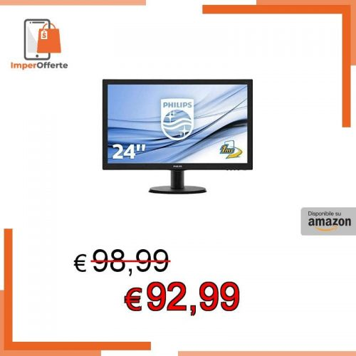 Philips Monitor 243V5LHSB Gaming Monitor per PC Desktop 23.6″ LED Full HD, 1920 x 1080, 250 cd/m², 1 ms, HDMI, DVI, VGA, Attacco VESA, Nero
