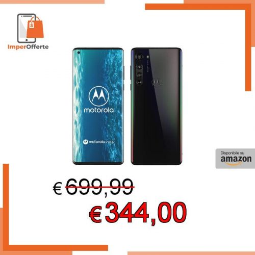 Motorola Edge Smartphone 5G, 64MP, Display Endless Edge 6.7″ FHD+, Qualcomm Snapdragon Octa-Core SM765, Batteria 4500 mAh, Memoria 6/128 GB, Dual Sim, Android 10, Nero (Solar Black)