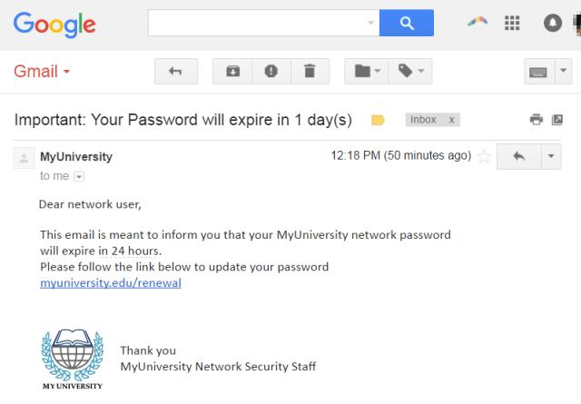 Phishing attack example - Phishing email