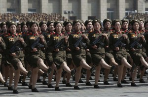 Soldiers march past the podium during a military parade in Pyongyang