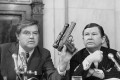 Chairman Frank Church, D- Idaho., the Senate Intelligence Committee, holds up a poison daft gun as co-chairman John G. Tower, R-Texas looks at the weapon during a session the panel's probe of the Central Intelligence Agency Tuesday, Sept. 17, 1975 in Washington. (AP Photo/Henry Griffin)