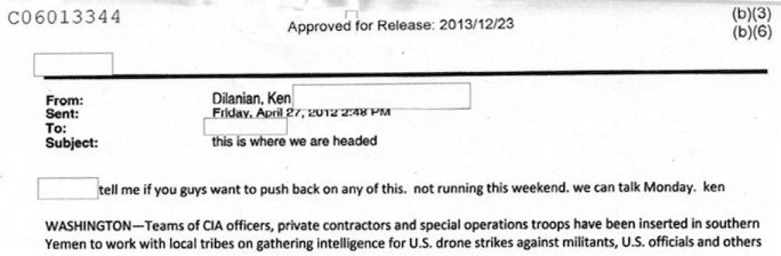 "Los Angeles Times reporter clearing stories with the CIA: ""Tell me if you guys want to push back on any of this."""