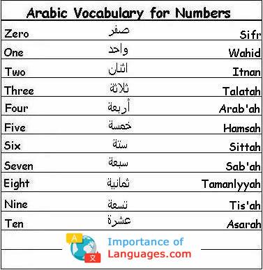 Arabic Numbers Vocabulary