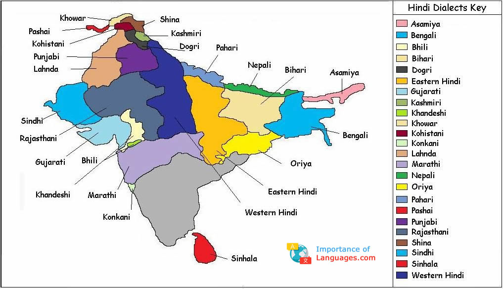 Hindi Dialects Map