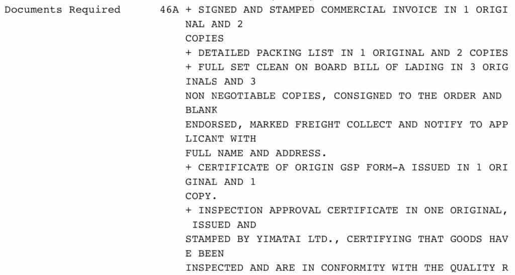 Ejemplo documentos requeridos en la carta de crédito.