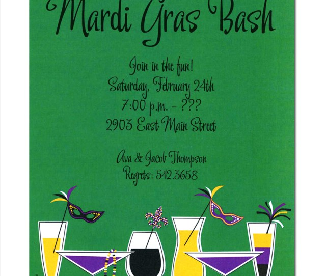 Mardi Gras Sips This Card Has A Green Background With A White Purple Yellow