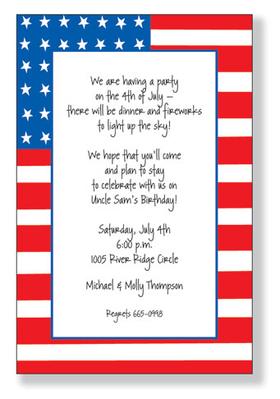 Holiday Amp Seasonal FOURTH OF JULY Invitations Amp Stationery Fun Flag
