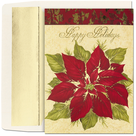 Business GREETING CARDS Christmas Poinsettia On Ivory