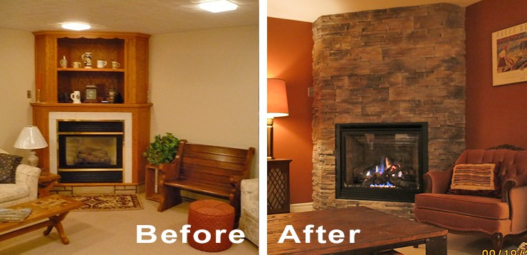 brick refacing remodel fireplace whole ideas wall a