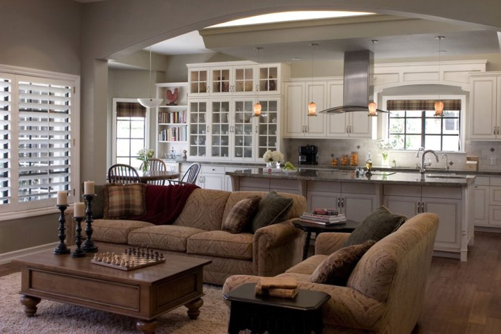 Design For Living Room With Open Kitchen. Stunning Inspiration ...