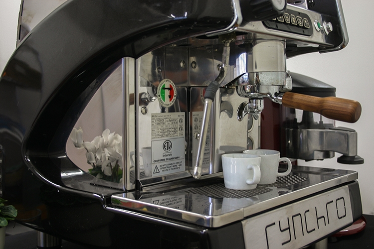 Close up of an espresso machine