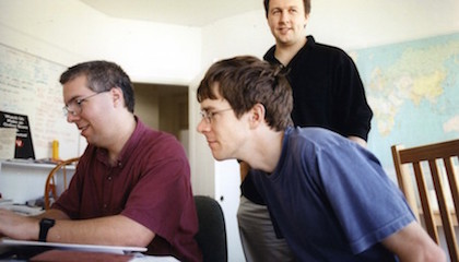 Viaweb co-founders (from left) Trevor Blackwell, Robert T. Morris, and Paul Graham in the company's original office in Cambridge, circa 1995.