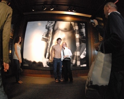 Shirtless model that welcomes shoppers to the Abercrombie & Fitch store in NYC