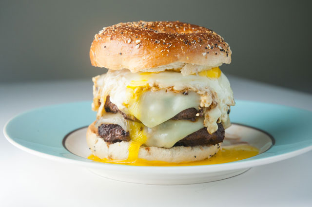 Double Swiss Cheeseburger with a Fried Egg on Everything Bagell
