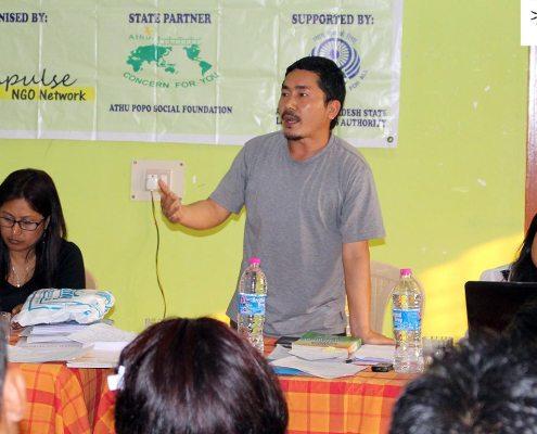 Advocate Sunil Mow, Chairman, Athupopo Social Foundation, at Impulse Paralegal Volunteer Training program, Arunachal Pradesh