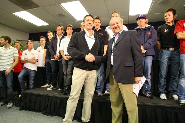 Tony George y Kevin Kalkhoven en Homestead, en 2008 (FOTO: Shawn Payne)