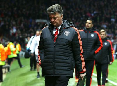 An unhappy van Gaal leaves the pitch at Old Trafford on March 17, 2016.