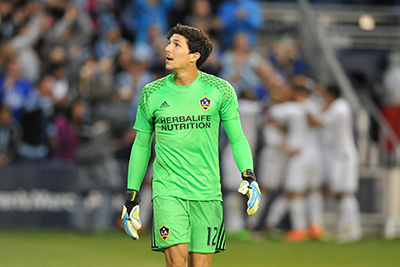Los Angeles Galaxy Keeper - Brian Rowe plays against Sporting Kansas City.