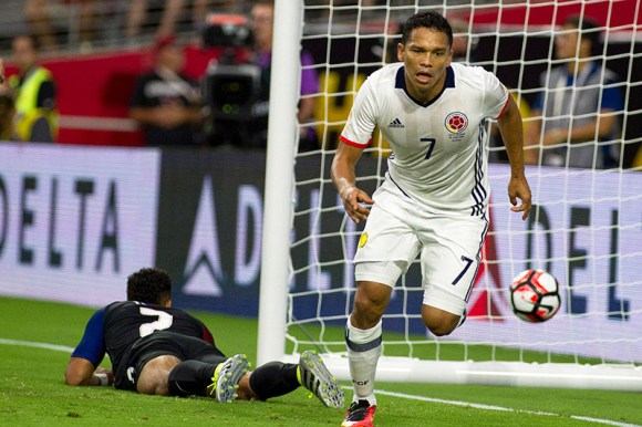 Carlos Bacca (7) scores the only goal of the night for Colombia. Photo by Victor Posadas.