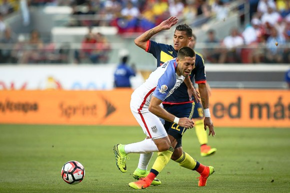 Action photo during the match United States vs Colombia, Corresponding Group -A- America Cup Centenary 2016, at Levis Stadium Foto de accion durante e partido Estados Unidos vs Colombia, Correspondiante al Grupo -A-  de la Copa America Centenario USA 2016 en el Estadio Levis, en la foto: (i-d) Clint Dempsey de USA y Jeison Murillo de Colombia 03/06/2016/MEXSPORT/German Alegria.