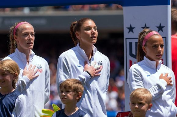 Mallory Pugh (R) is shown here with Hope Solo (M) and Becky Sauerbrunn prior to the match between the USA and South Africa at Soldier Field. The USA won 1 - 0. Pugh is a bright new star and is part of the next generation of upcoming star players.