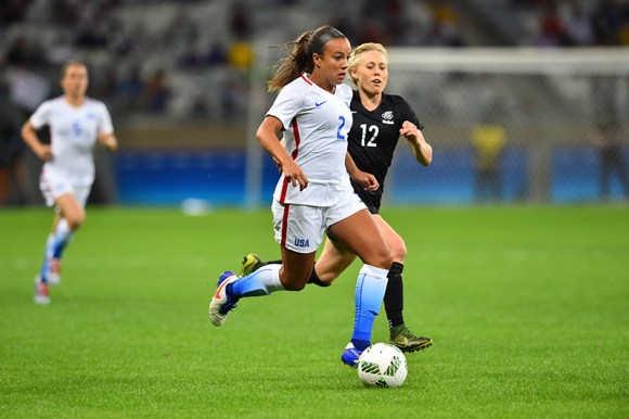 Belo Horizonte, Brazil - Wednesday, August 3, 2016: The USWNT go up 1-0 over New Zealand in first half action in Group G play during the 2016 Olympics. Photo by Brad Smith.