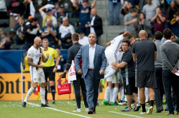 Bruce Arena looks on as Los Angeles Galaxy play Colorado Rapids at Stub Hub Center on October 30, 2016. Photo by Michael Janosz.