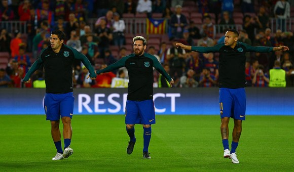 Luis Suarez, Lionel Messi and Neymar of Barcelona warm up during the UEFA Champions League Group C match between FC Barcelona and Manchester City played at the Camp Nou, Barcelona, Spain on 19th October 2016. Photo by Kieran McManus.