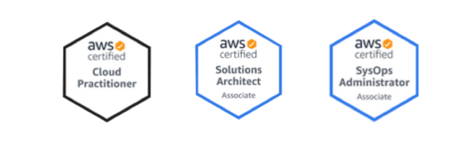 aws certified badges - cloud practitioner, solutions architect, sysops administrator