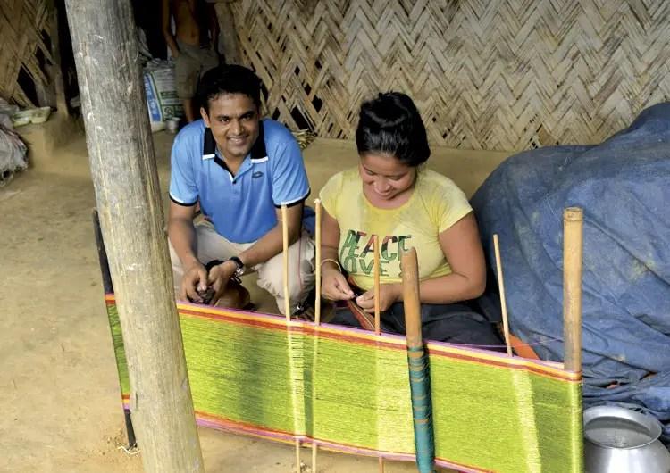 Tribal woman knitting