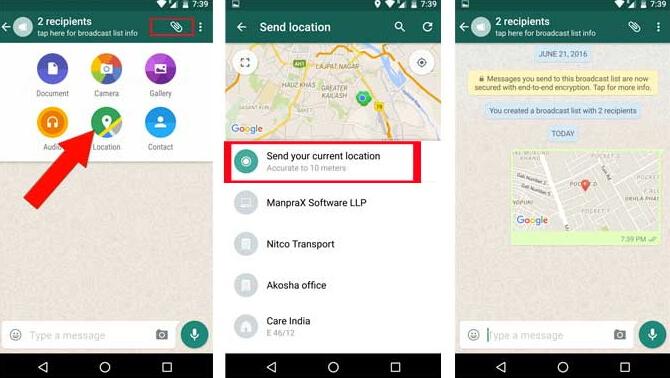 whatsapp location sharing