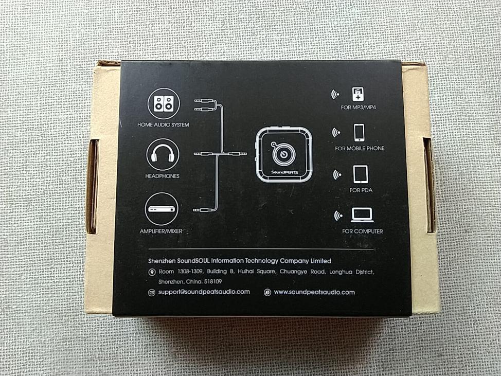 SoundPEATS(サウンドピーツ) Bluetooth トランスミッター&レシーバー MK2 化粧箱裏面