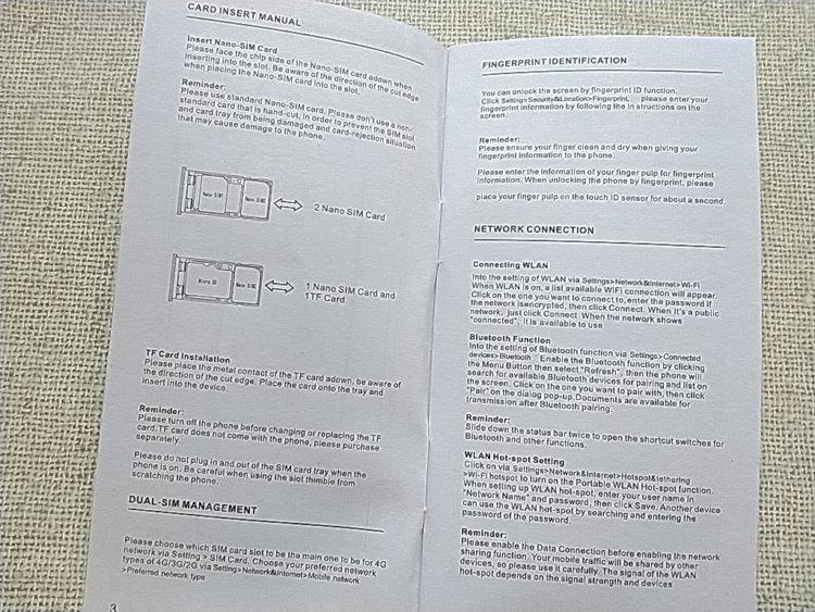 中国語を排除したUMIDIGI Z2のユーザーマニュアル