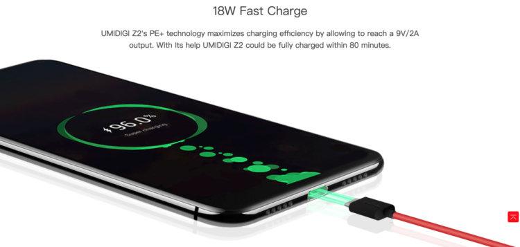 UNIDIGI Z2は18W急速充電対応