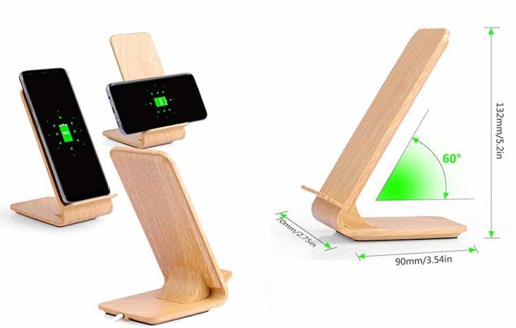 Qi対応木目調ワイヤレス充電スタンド スペック紹介