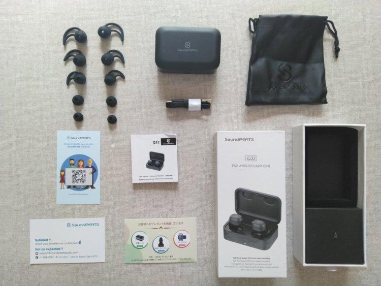 SoundPEATS Q32 Bluetooth 完全ワイヤレスイヤホンパッケージ内容