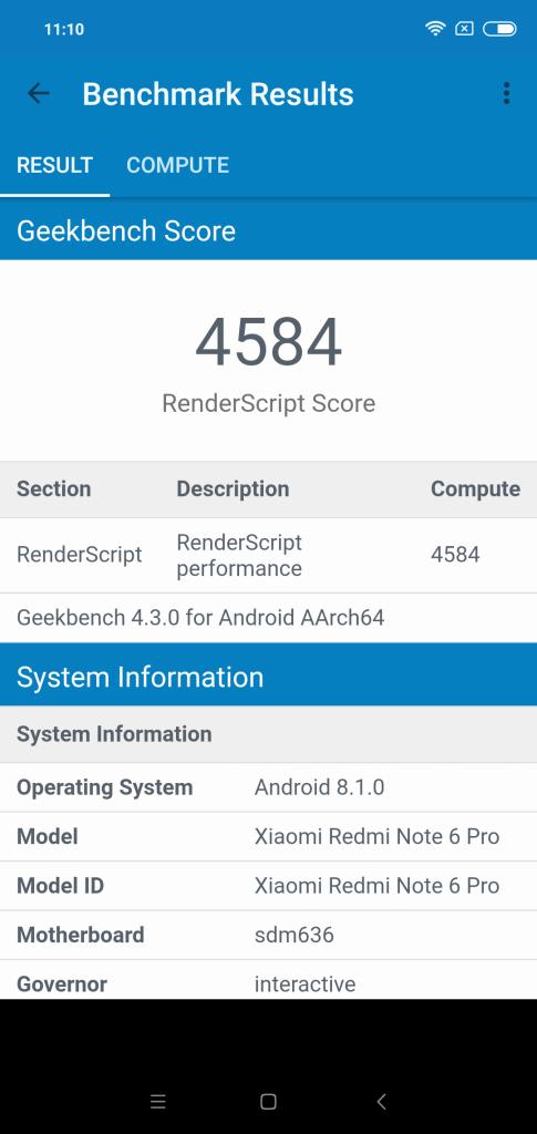 Xiaomi Redmi Note 6 Pro Geekbench 4 GPU