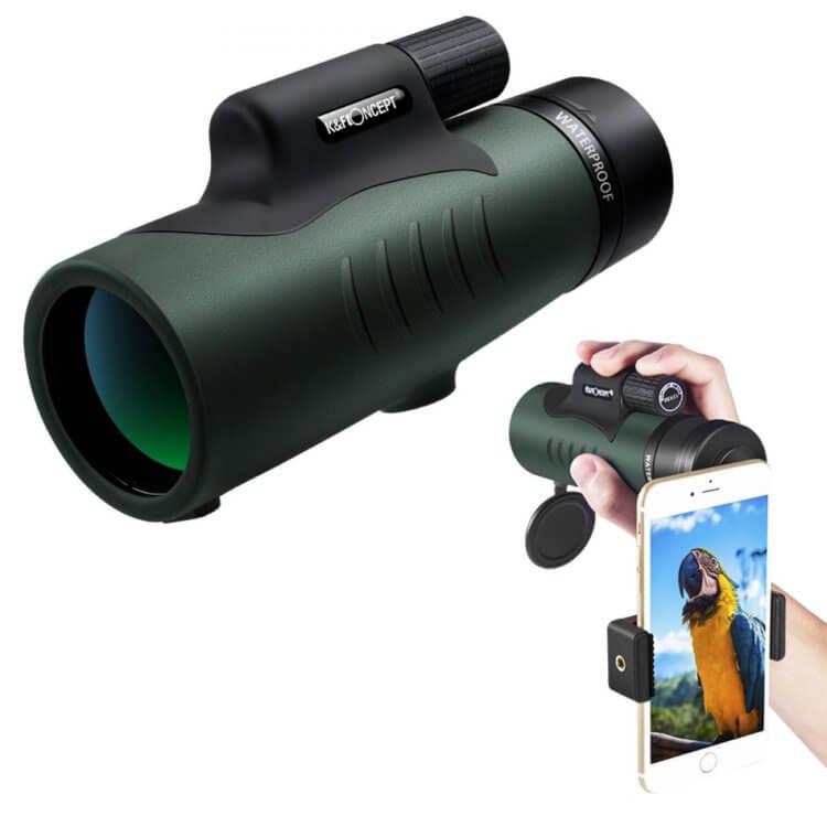 単眼鏡 12x50高倍率 IP68防水 K&F Concept 望遠鏡 防塵 防霧 スマートフォンホルダー付き 三脚に装着可能 製品概要